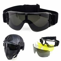 Paintball Tactical Airsoft Brille UV400 Schutz Goggles Eye Safety Glasses 3 Lens