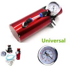 Red Aluminum Car Engine Oil Reservoir Catch Can Tank Filter Kits+Pressure Gauge
