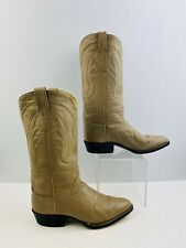 Men's Ivory Leather Round Toe Western Cowboy Boots Size: 7 ?