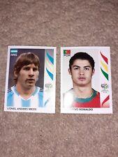 PANINI GERMANY 2006 WORLD CUP STICKERS #185 MESSI #298 RONALDO NEW ROOKIE RARE