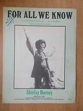 VINTAGE SHEET MUSIC - FOR ALL WE KNOW - SHIRLEY BASSEY