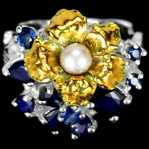 GENUINE WHITE PEARL & BLUE SAPPHIRE STERLING 925 SILVER 2-TONE FLOWER RING 6.75
