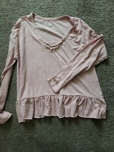Justice Mauve Long Sleeve Ruffle Bottom Shirt Size 16/18
