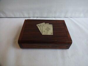 Vintage Inlaid Brass  Hinged Wooden Card Box Height 3 cm x 11 cm x 8 cm
