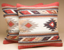 Pair Southwest Wool Pillow Covers 18x18 -Hopi Pattern