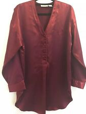 Victoria Secret Vintage Rojo Rubí Satén's Camisón/Camiseta Pijama Top Small Petit