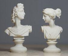Set Twins Apollo and Artemis Greek God Bust Alabaster Statue Sculpture 4.3΄΄