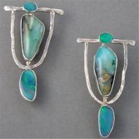 Retro Turquoise Gemstone Dangle Drop Sterling 925 Silver Hook Earrings Jewelry