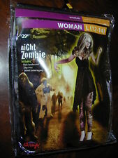 HALLOWEEN COSTUME Scary Night Zombie Woman L 12-14 Black Dress Tattered Leggings
