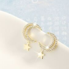 18k gold 925 silver stud made with swarovski crystal moon star dangle earrings