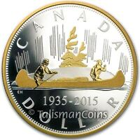 Canada 2015 Voyageur Canoe Renewed Pure Silver Dollar 2 Oz Proof $1 Masters Club