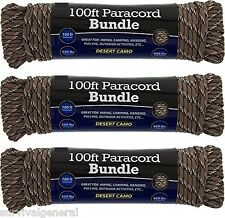 (3) 550 Paracord 100' Parachute 7 Cord Strand Desert Camo Rope Survival Outdoor