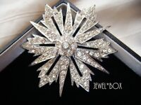 VINTAGE GORGEOUS TIERED STARBURST ART DECO STYLE  RHINESTONE CRYSTAL STAR BROOCH