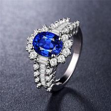 925 Silver Jewelry Elegant Oval Cut Blue Sapphire Women Wedding Ring Size 6