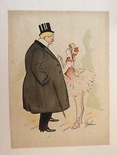 1895 1900 Dessin original signé CHENET cocotte danseuse scène cabaret unique