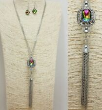 Silver and Iridescent FASHION Necklace Set