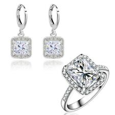 Gift Box Pack Jewelry Set 18K White Gold Filled Clear C.Z Ring+Earring