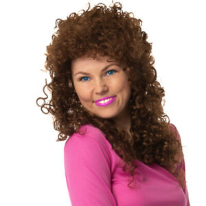 Ladies Boogie Babe Wig Brown Long Curly Permed 1980s Fancy Dress Accessory