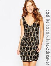 Maya Petite Plunge Embellished Shift Dress UK SIZE 14