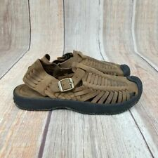 Keen Woven Leather Strap Buckle Sandals Mens Size 11.5 Brown/Black