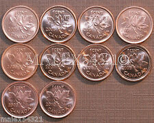 2005 TO 2010 BU CANADA 1 CENT MINT STATE (10 COINS) >>FREE $HIPPING IN CANADA!<<