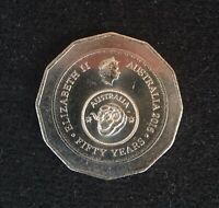 """2016 50 CENT COIN """"AUSTRALIA FIFTY YEARS OF DECIMAL CURRENCY""""- CIRC - FREE POST."""