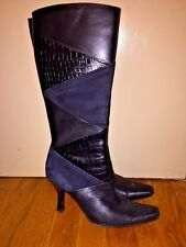 Style & Co SnakeSkin Leather Croc Alligator High Heels Boots Womens Shoes Sz 6.5