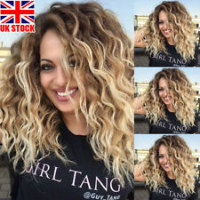UK Womens Ombre Blonde Black Curly Afro Synthetic Hair Wigs Natural Wavy Wig Cap