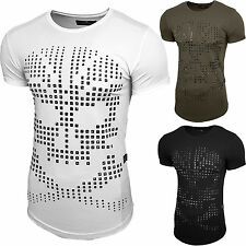Herren Rundhals T-Shirt Kurzarm Hemd Slim Fit Design Fashion Vintage Look 15086