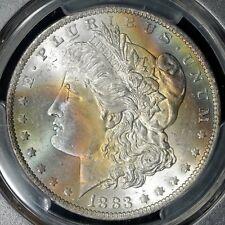 1883-O Morgan Silver Dollar PCGS Secure MS65 TrueView - Rainbow Toning