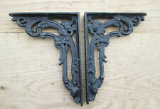 2 X BLACK VICTORIAN CAST IRON FOLIAGE SHELF WALL BRACKET CISTERN SINK TOILET