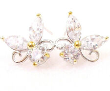 Women Girl New  Butterfly Stud Earrings CZ Cubic Zirconia White Gold Plated Xmas