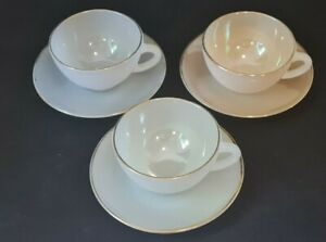 Vintage Arcopal Harlequin French Glass Tea Cup and Saucer x 3 Pastel Opalescent