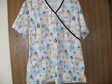 ladies size (M) sb scrubs short sleeve pastel floral scrub top