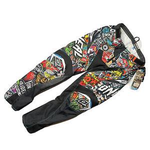 O'neal Mayhem Pant Crank Motocross Pants Adult Size 30 Black All Over Print Logo