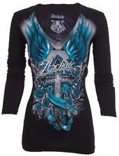 Archaic Affliction  Women's T-Shirt Long Sleeve ROSEMARY Tattoo Biker Black Teal