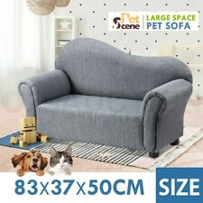 Kidbot 2 Seater Kids Sofa Linen Fabric Armchair Children Soft Lounge Couch Grey