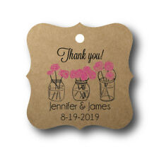 24 Mason Jar with Flowers - Personalized Wedding Favor Tag