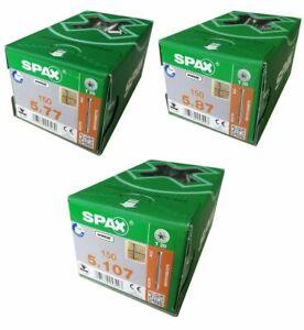 SPAX Tellerkopfschrauben flach bündig 5mm verzinkt WIROX  77, 87 und 107mm Länge
