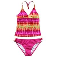 Girls Two Piece Tankini Swimwear Bikini Swimsuit Swimming Costume Age 2-16 Yrs