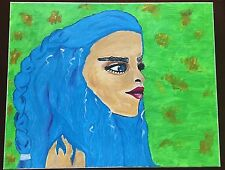 """16 x 20"""" CANVAS, OIL PAINTING OF BLUE-HAIRED GIRL, FRAMED!"""