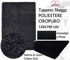 Tappeto Shaggy Poliestere pelo lungo 130x190 Annodato Trama in Cotone Nero Oro