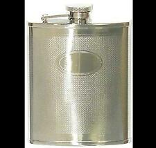 Engine Turned CHROME PLATE Flask Stainless Steel 6oz