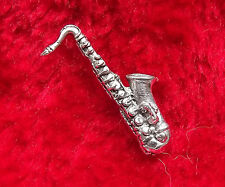 Musical Saxaphone Hand-Crafted English Pewter Badge + free UK postage