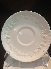 """SINGLE WEDGWOOD CREAM SOUP BOWL SAUCER ONLY EMBOSSED QUEENSWARE - IVORY 6 3/4"""""""
