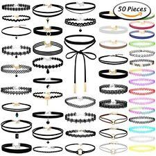 Pendants for Teen Girls and Women 50Pcs Black Choker Necklaces Gothic Velvet