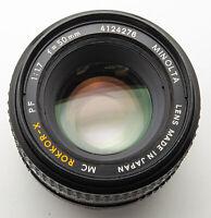 Minolta MD Rokkor-X Rokkor X 50 mm 50mm 1.7 1:1.7 XD-7 XD X700 etc.