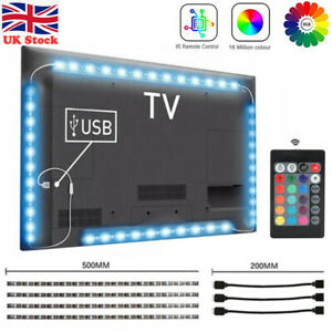 LED Strip Lights USB TV Backlight RGB 5050 Lighting 4 Strips + Remote Control UK