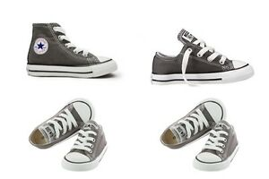 New Converse Unisex Charcoal High & Low Top For Infants - (7J793) & (7J794)