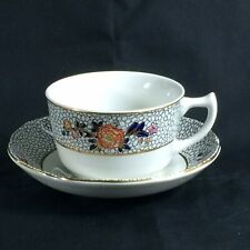 "Mason's ""Ashworth"" Ironstone Cup And Saucer Floral Dk Blue Pebble On White"